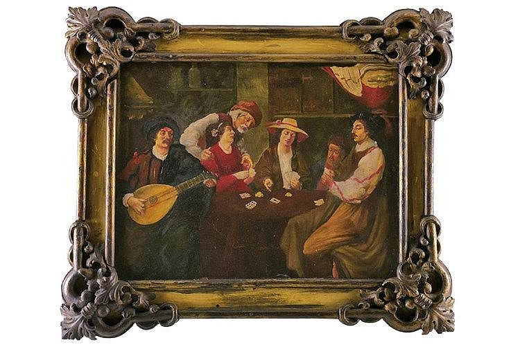 Card players and musician