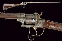 A pin-fire revolving rifle by Lefaucheux, dating: