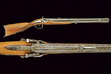 A over and under barrelled percussion rifle by Fru
