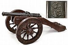 A scarce cannon with carriage, dating: early 17th