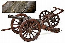 A fine cannon model with limber carriage, dating: