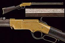 An extremely rare brass frame Henry rifle, dating: