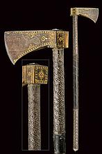 A fine gilded tabarzin (horseman's axe), dating: 1