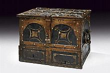 A travelling iron strong-box, dating: 18th Century