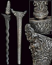 An important and rare silver mounted ceremonial and symbolical temple kris