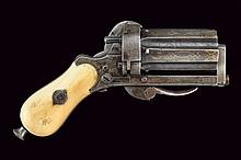 A pin-fire pepperbox revolver