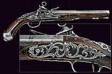 A beautiful flintlock pistol in Roman style
