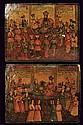 A pair of papier mâché Qajar panels