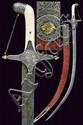 A beautiful silver mounted left hand shamshir
