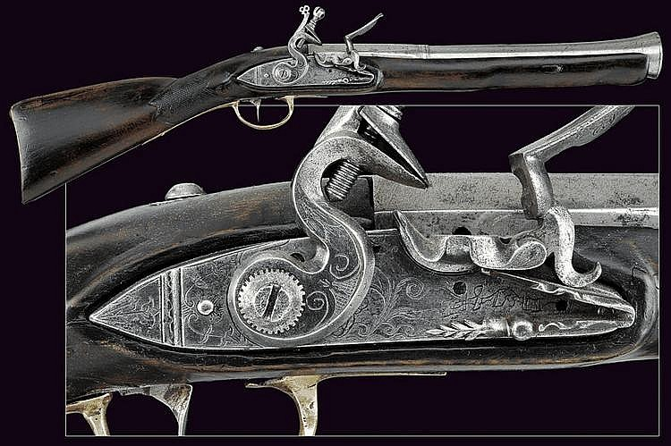 A flintlock blunderbuss gun