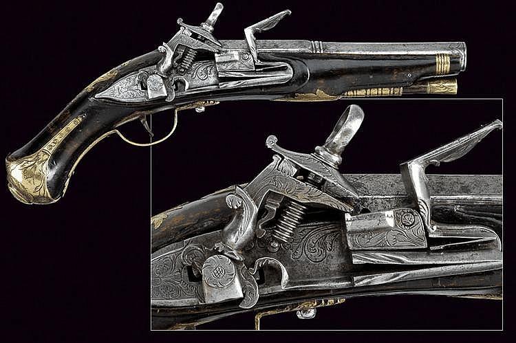 A roman percussion pistol by Cattani