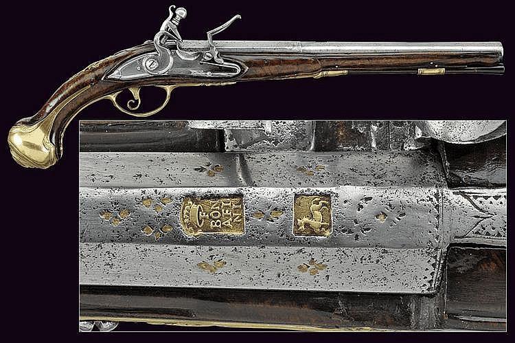 A flintlock pistol by F. Bonafini