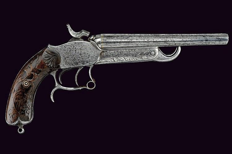 A double-barrelled breech-loading center-fire pistol by Broq