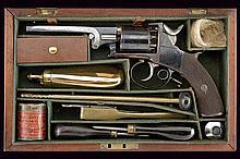 A cased percussion revolver