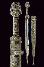 A fine silver mounted kindjal