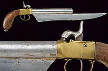 A percussion pistol with knife
