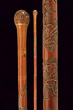 A carved walking stick