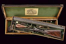 A Bentley double-barrelled shotgun with two-level case