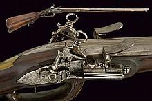 A rare roman style double barrelled flintlock gun by Salvadore Salvador