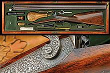 A fine cased shotgun by Zaoue with Leclerc barrels