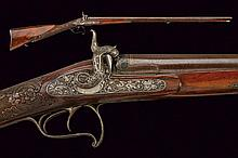 A fine double barrelled percussion gun by Panatoro