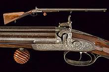 A fine double barrelled percussion shotgun by Lagreze