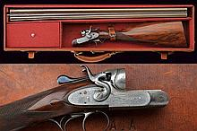 A double barreled breechloading shotgun by Lincoln Jeffries, with case