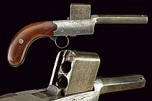 A rare four shot Colleye breech loading pistol with vertical cylinder