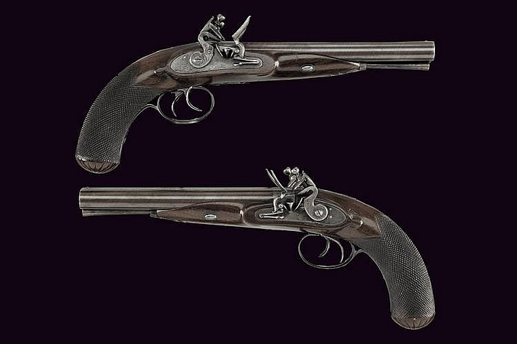 An interesting pair of double-barrelled flintlock pistols by H. Nock