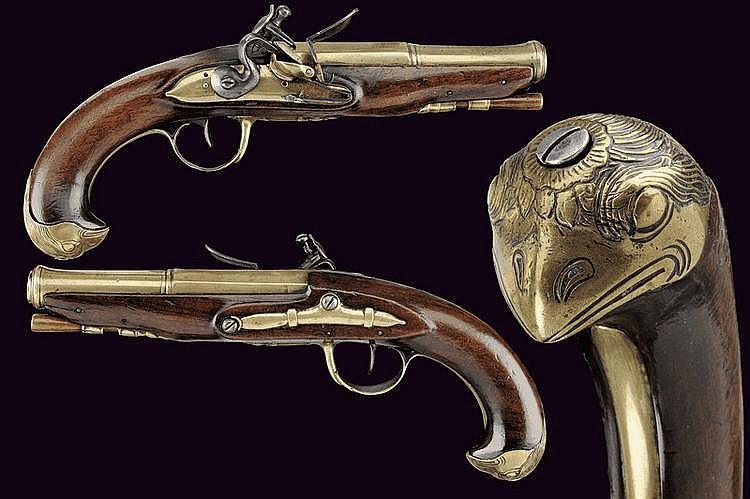 A navy officer's pair of flintlock pistols