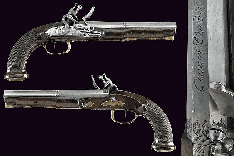 A pair of officer's flintlock pistols by Rouatis