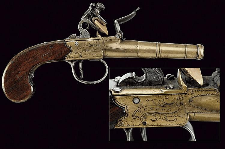 A bronze flintlock pocket pistol