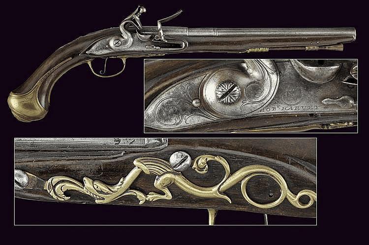 A flintlock pistol by Harvey