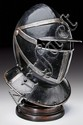 A black and white cuirassier's helmet