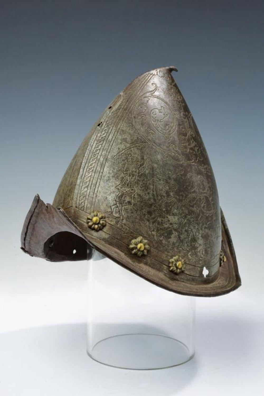 An engraved morion