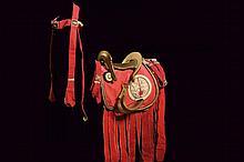 A beautiful and rare kura (saddle) with abumi, saddle blanket and horse decoration
