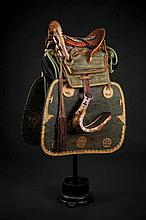 A beautiful and rare kura (saddle) with abumi, saddle-pad and side protection
