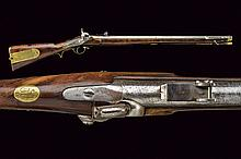 Russian Imperial Brunswick percussion Carbine by Malherbe, dating: mid-19th Century, provenance: Russia, dating: mid-19th Century, provenance: Russia, Round, rifle, 17 mm cal. barrel provided with adjustable rear-sight, foresight and clutch for the