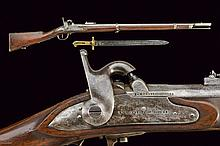 A rare Bersaglieri percussion gun by Mondelli with bayonet, dating: mid-19th Century, provenance: Piedmont, dating: mid-19th Century, provenance: Piedmont, Heavy, rifled, round, 18 mm cal. barrel with octagonal base, marked 'E. MONDELLI COMO 40',