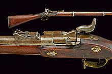 A breechloading snyder-enfield type rifle, dating: third quarter of the 19th Century, provenance: England, dating: third quarter of the 19th Century, provenance: England, Rifled, 15 mm cal. barrel provided with foresight and adjustable rear-sight,