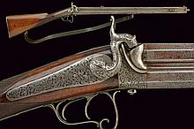 A over and under barrelled percussion rifle by Faure, dating: mid-19th Century, provenance: Paris, dating: mid-19th Century, provenance: Paris, Octagonal, 17 mm cal. barrels, the upper one rifled, and the other one smooth, with damask structure; the