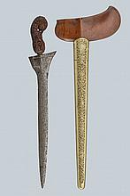 A kris, dating: circa 1900, provenance: Giava, dating: circa 1900, provenance: Giava, Straight, double-edged blade made of fine pamor; wooden grip, richly sculpted with floral motifs, small, metallic mendak; wooden warangka with brass-inlaid pendok
