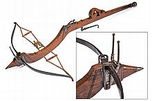 A stone-crossbow, dating: 17th Century, provenance: Tuscany, dating: 17th Century, provenance: Tuscany, Iron bow with rope complete with wooden distance-keepers; wooden tiller, slightly sculpted, at the back a pierced curl, rounded pommel; iron