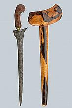 A kris, dating: late 19th Century, provenance: Giava, dating: late 19th Century, provenance: Giava, Straight, double-edged blade of lenticular section, made of fine pamor and slightly curved at the base; wooden grip with brass mendak. Wooden