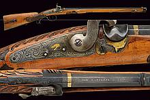 A fine percussion target rifle, dating: mid-19th Century, provenance: Germany, dating: mid-19th Century, provenance: Germany, Octagonal, rifled, 9 mm cal. barrel, signed 'JOH. BAESTLEIN IN SUHL' with finishing; gold bands at the edges, iron