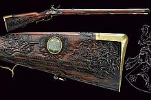 An outstanding flintlock rifle of historical importance from the property of Baron von Beulwitz, dating: third quarter of the 17th Century, provenance: Southern Germany, dating: third quarter of the 17th Century, provenance: Southern Germany, Rifled,