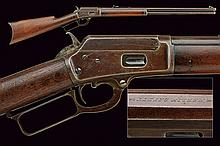 A 1889 model Marlin Safety carbine, dating: 1875-1890, provenance: USA, dating: 1875-1890, provenance: USA, Round, rifled, 38 wfc cal. barrel with address and patents, rear-sight and foresight; a tubular magazine under the barrel; smooth frame,