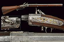 A very scarce and early flintlock breech loading rifle by Rene, dating: third quarter of the 17th Century, provenance: Southern Germany, dating: third quarter of the 17th Century, provenance: Southern Germany, Heavy, rifled (excellent conditions),
