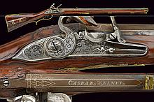 A fine flintlock Jager rifle by Caspar Zellner, dating: second quarter of the 18th Century, provenance: Austria, dating: second quarter of the 18th Century, provenance: Austria, Heavy, octagonal, rifled, 15 mm cal. barrel, signed and decorated with