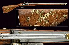 A very scarce and early flintlock rifle, dating: third quarter of the 17th Century, provenance: Germany, dating: third quarter of the 17th Century, provenance: Germany, Rifled, two-stage, 14 mm cal. barrel; octagonal at the first part with groove at